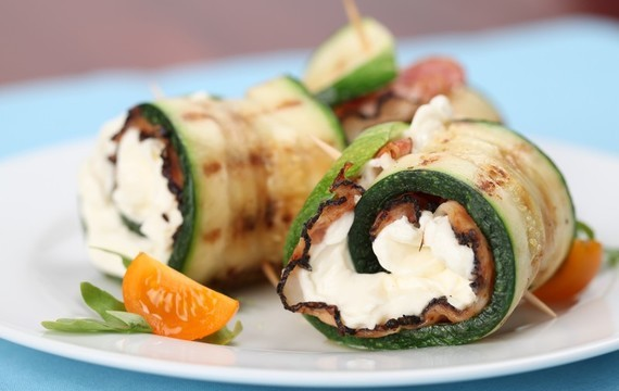 Grilled zucchini rolls stuffed with bacon cheese
