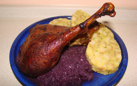 St. Martin's goose with red cabbage